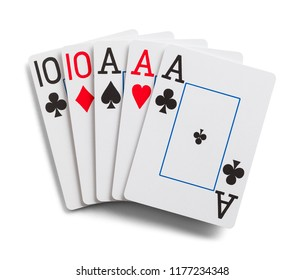 Full House Playing Cards Isolated on White.