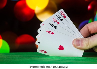 Full house poker cards combination on blurred background casino luck fortune card game