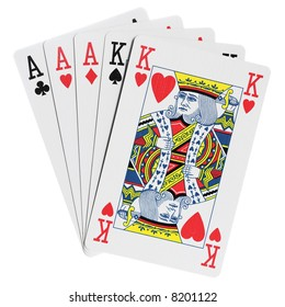 Full house, poker hands. Isolated on white [with clipping path]
