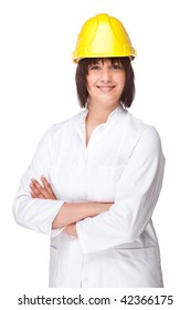 Full isolated portrait of a beautiful caucasian technician