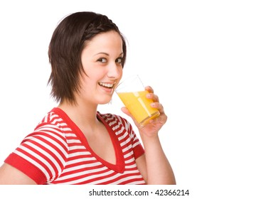Full isolated portrait of a beautiful caucasian woman with a glass of orange juice
