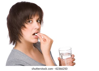 Full isolated portrait of a beautiful caucasian woman with some medicine