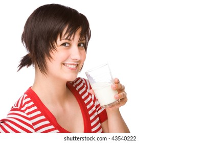 Full isolated portrait of a beautiful caucasian woman with a glass of milk