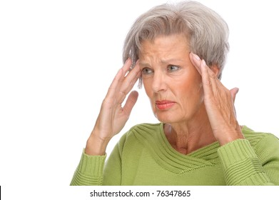 Full isolated portrait of a senior woman with headache