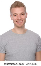 Full isolated portrait of a  smiling young man