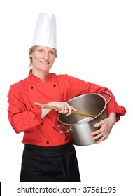 Full isolated studio picture from a young cook with big cooking pot