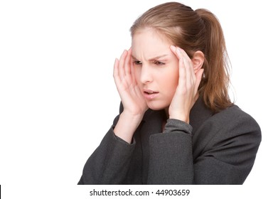 Full isolated studio picture from a young businesswoman with headache