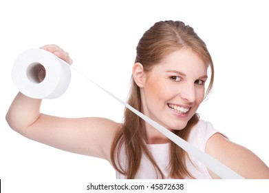 Full isolated studio picture from a young woman with toilet paper