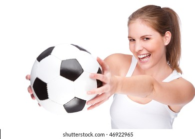Full isolated studio picture from a young and beautiful woman with football
