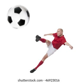 Full isolated studio picture from a young soccer player with ball