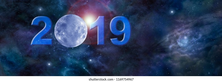 Full January moon in 2019 Website Header - Deep space banner with a blue moon replacing  the zero in 2019 and plenty of copy space on right side