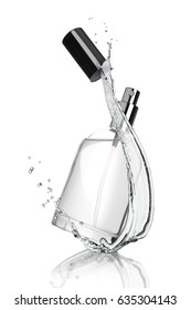 Full jar of perfume with reflection with water splash on white background