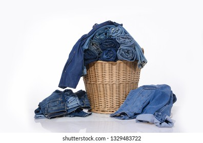 full of jeans, jeans jacket clothes in Basket