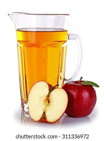 Full jug of apple juice and fruit isolated on white