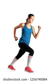 full lenght fit girl running, isolated on white background