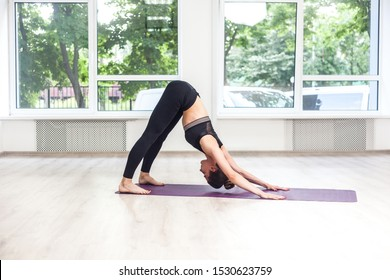 Full lenght portrait of young adult sporty attractive woman in black pants and top is practicing yoga, doing downward facing dog exercise, adho mukha svanasana pose, indoor, window background