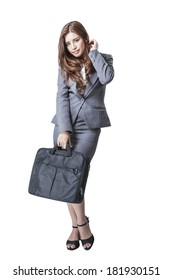 Full length Asian businesswoman attractive pretty beautiful with handbag isolated on white background