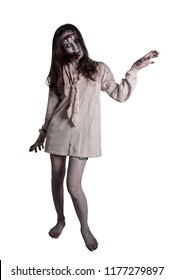 Full length of asian female zombie isolated over white background