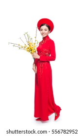 Full length of a beautiful Asian woman on traditional festival costume Ao Dai holding Hoa Mai tree (Ochna Integerrima) flower. Tet holiday. Lunar New Year.