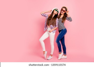 Full length body size photo of charming flirty flirt ladies having weekends summer feeling funny funky dressed headwear in modern shirts jeans isolated on pink nice background