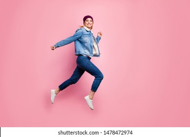 Full length body size photo of lady running on air just seeing that price of pillow she has been dreaming of was decreased by half while isolated with pastel background