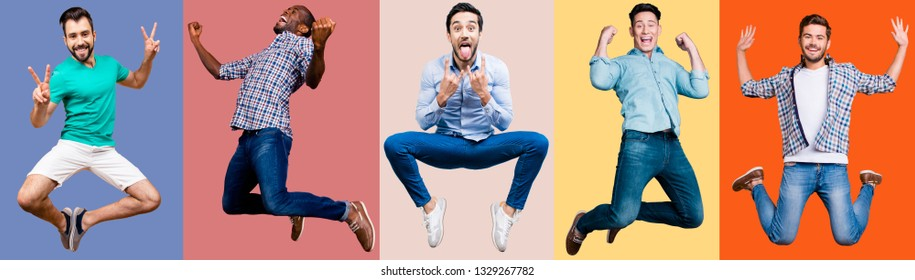 Full length body size portrait attractive cheerful he him his guys flying mixed together one stylized illustration sport life club advertisement placard idea concept isolated colored background