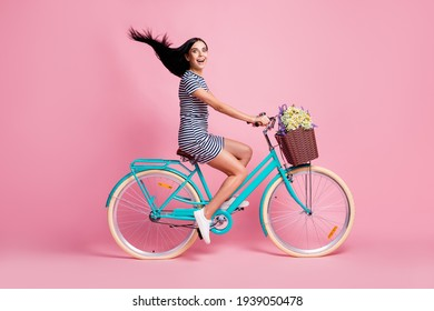 Full length body size profile side view of lovely cheerful girl riding bike having fun fast speed adventure isolated on pink pastel color background