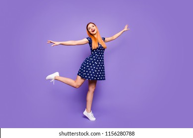 Full length body size studio photo shooting portrait of beautiful pretty nice cute charming careless lady standing on one leg isolated on bright vivid color pastel background