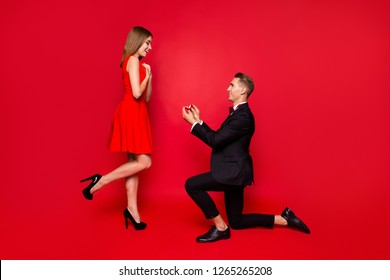 Full length body size of two attractive affectionate cheerful people delighted glad lady getting receiving engaging offer guy standing on one knee isolated over bright vivid shine red background