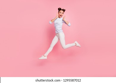 Full length body size view portrait of her she nice crazy attractive lovely cheerful cheery optimistic funky girl screaming sale discount isolated over pink pastel background