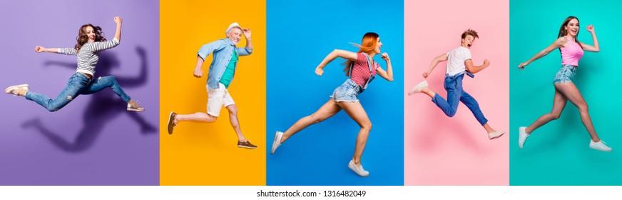 Ganzes Körperformat mit Foto-Porträtcollage von Laufenden Sportlichen in gestreiftem T-Shirt mit Blick auf vorne auffällige Fortschritt Aktives Leben einzeln auf hellbuntem, unterschiedlichem Hintergrund