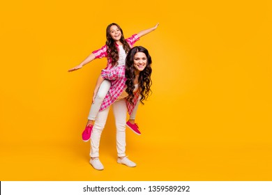Full length body size view photo funny mature little trendy ladies have free time walk promenade satisfied rejoice carefree funky laugh isolated wear stylish bright clothing yellow background
