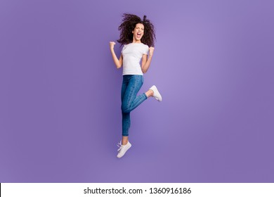 Full length body size view of nice cute lovely attractive cheerful cheery cool wavy-haired lady having fun great good day attainment isolated on bright vivid shine violet pastel background