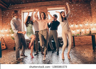 Full length body size view of nice company pretty charming elegant cheery glad positive guys ladies having fun romance discotheque flying decorative elements rejoice in industrial loft interior house