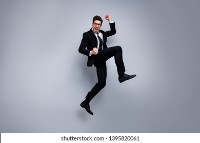 Full length body size view portrait of his he nice attractive crazy cheerful guy executive top manager financier banker career growth experience skills isolated on light gray background