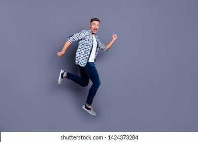 Full length body size view photo of charming funny funky youth have free time rest relax movement dream dreamy dressed modern outfit isolated grey background