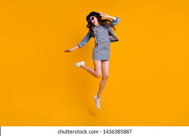 Full length body size view photo charming pretty millennial good-looking rejoice attractive careless holidays travel scream shout specs striped jeans modern clothing youth isolated vivid background