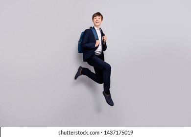 Full length body size view photo positive cheerful charming pupil motion dressed black shirt blazers trousers pants footwear shoes have free time isolated grey background