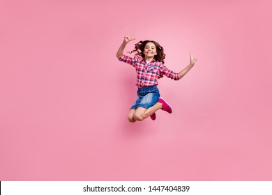 Full length body size view photo of charming friendly girl make v-signs dream dreamy carefree careless playful free time dressed checkered shirt denim jeans skirt isolated pink pastel background