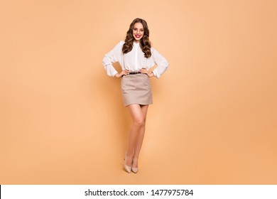 Full length body size view portrait of her she nice-looking attractive lovely winsome shine content cheerful cheery wavy-haired lady professional top management isolated over beige background