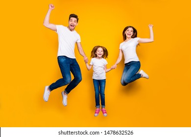 Full length body size view of three nice attractive adorable slim fit sporty lovely stylish cheerful cheery carefree person having fun rejoicing isolated over bright vivid shine yellow background