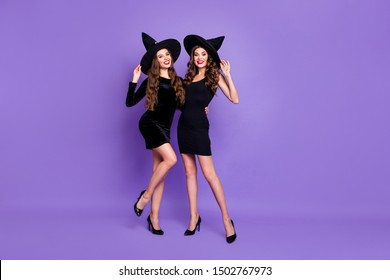 Full length body size view of nice attractive elegant glamorous graceful gorgeous cheerful wavy-haired models posing isolated on bright vivid shine vibrant blue violet purple lilac color background