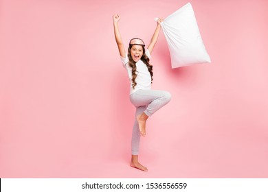 Full length body size view of her she nice attractive overjoyed funky cheerful cheery wavy-haired pre-teen girl having fun time party isolated over pink pastel color background