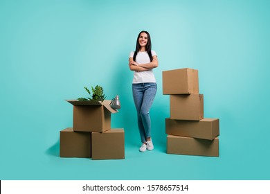 Full length body size view of nice attractive cheerful cheery brunet girl packing thing pile stack boxes folded arms isolated on bright vivid shine vibrant teal green blue turquoise color background