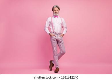 Full length body size view of his he nice attractive well-dressed imposing elegant cheerful cheery content grey-haired man holding hands in pockets isolated over pink pastel color background