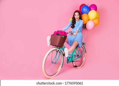 Full length body size view of attractive cheerful cheery wavy-haired lady riding bike without legs delivering celebratory festal decoration having fun grimacing isolated pink pastel color background