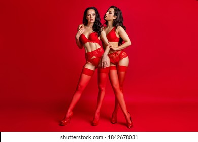 Full length body size view of two nice-looking attractive hot kinky glamorous amorous naughty horny girls embracing 14 February isolated bright vivid shine vibrant red color background