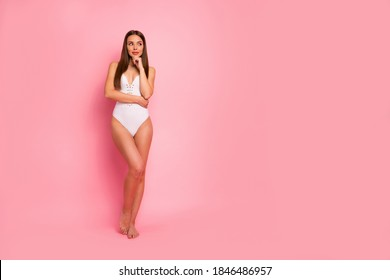 Full length body size view of her she nice-looking attractive lovely lovable adorable sweet winsome stunning fit thin sportive straight-haired lady posing creating plan isolated over pink background