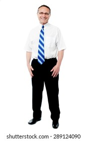 Full length of business executive over white