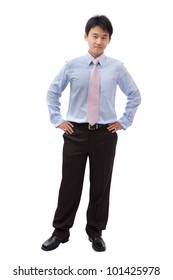 full length business man with confident smile isolated on white background, model is a asian male
